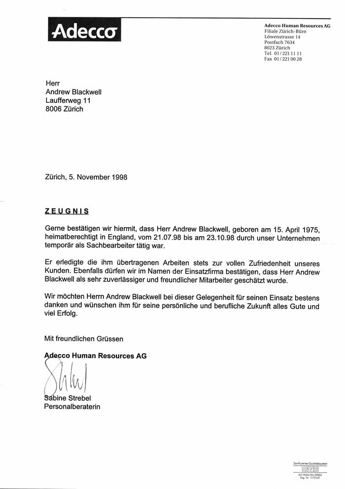 german business letter format